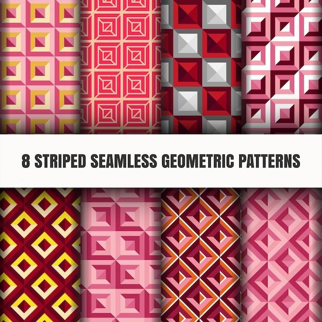 Ensemble de motifs géométriques sans soudure rayés Vecteur gratuit