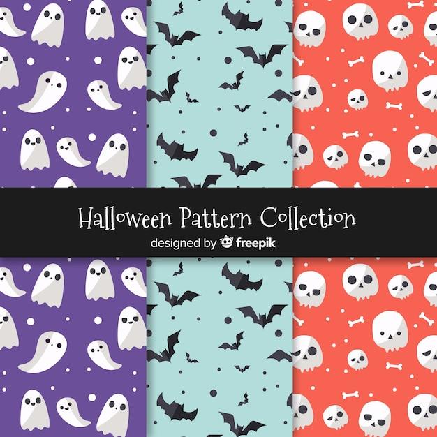 Ensemble de motifs d'halloween Vecteur gratuit