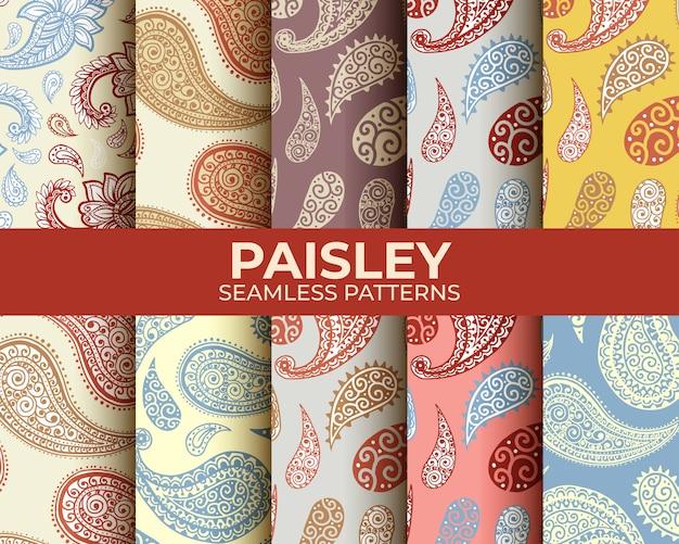 Ensemble De Motifs Paisley Vecteur gratuit