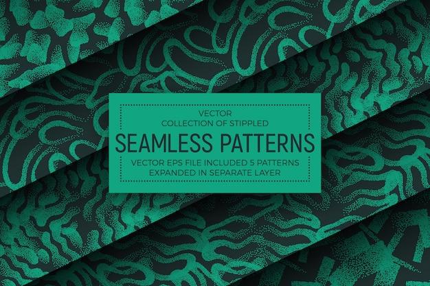 Ensemble de motifs sans soudure abstraites vertes abstraites Vecteur Premium