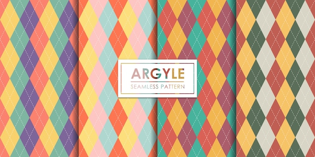Ensemble de motifs sans soudure argyle, papier peint décoratif. Vecteur Premium