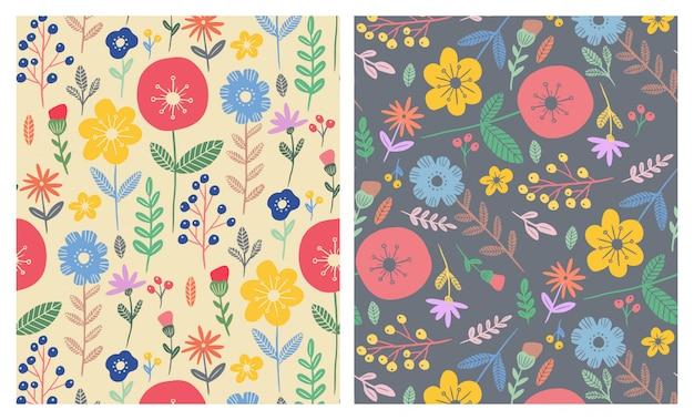 Ensemble de motifs sans soudure de fleurs plates colorées Vecteur Premium