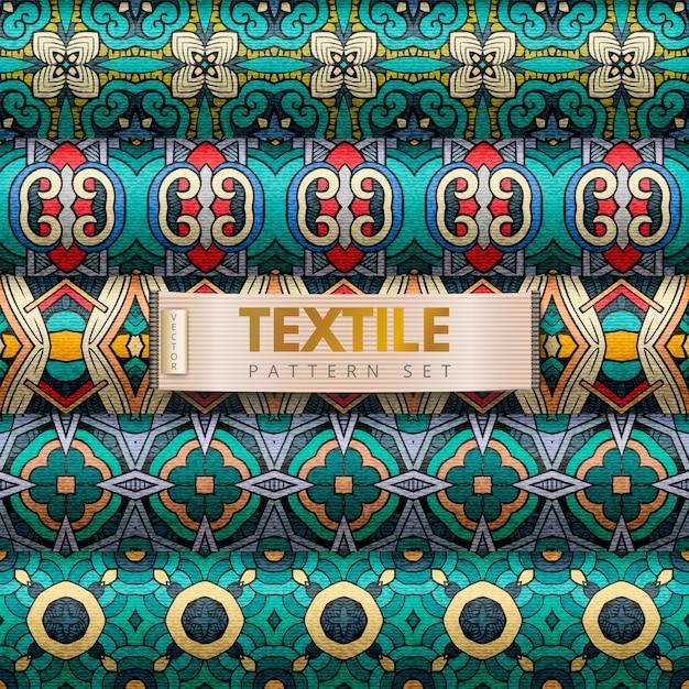 Ensemble de motifs textiles Vecteur Premium