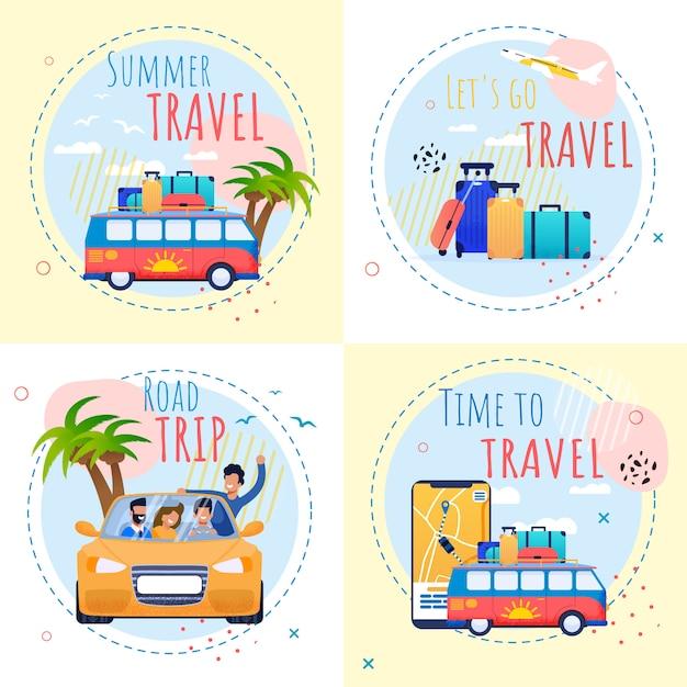 Ensemble de motivation de vacances d'été avec des citations d'inspiration. temps pour voyager et se détendre illustration Vecteur Premium