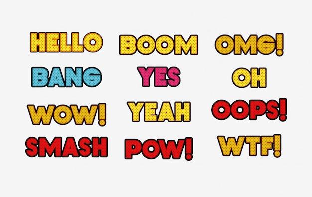 Ensemble de mots style pop art Vecteur gratuit