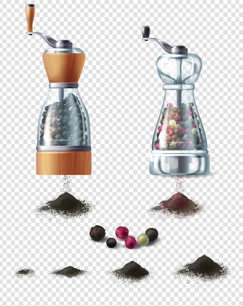 Ensemble de moulins à épices avec poignées et poignées de poivre noir moulu Vecteur gratuit