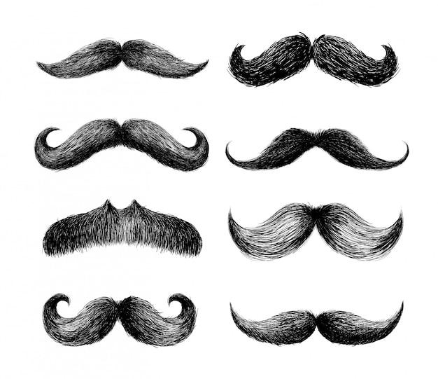 Ensemble de moustaches Vecteur Premium