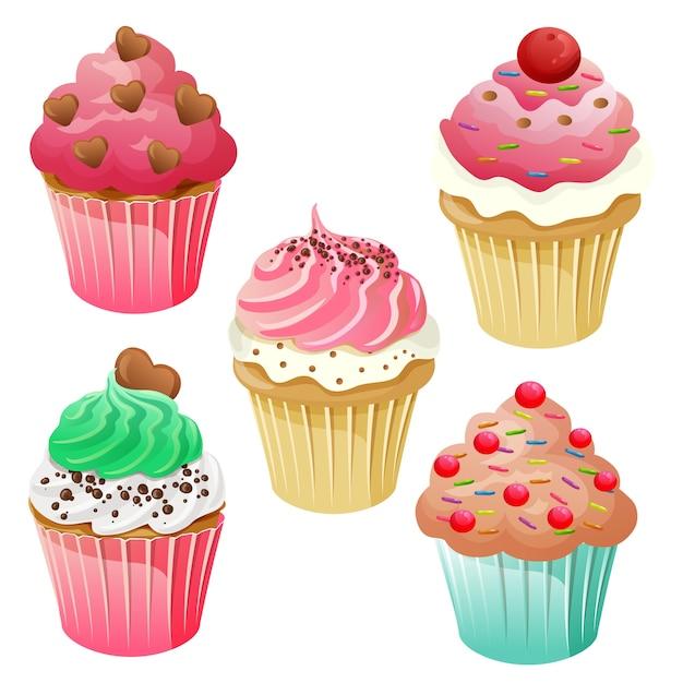 Ensemble de muffin cupcake sucré Vecteur Premium