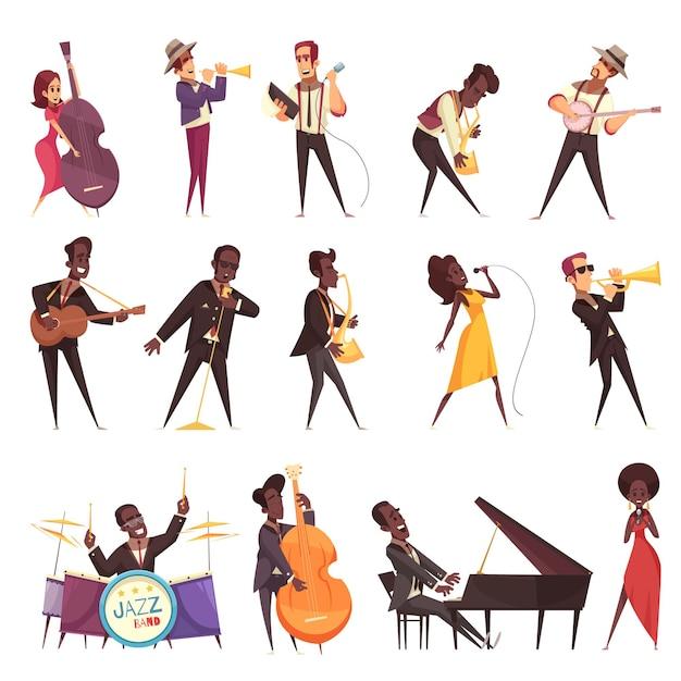 Ensemble De Musique Jazz D'icônes Isolées Avec Des Personnages Humains De Style Dessin Animé De Musiciens Jouant De Différents Instruments Vecteur gratuit