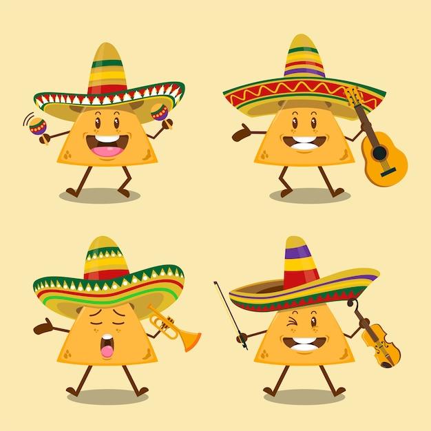 Ensemble De Nachos De Bande De Mariachi Mignon Avec Chapeau Sombrero Mexicain Tenant Illustration D'instruments De Musique Vecteur Premium