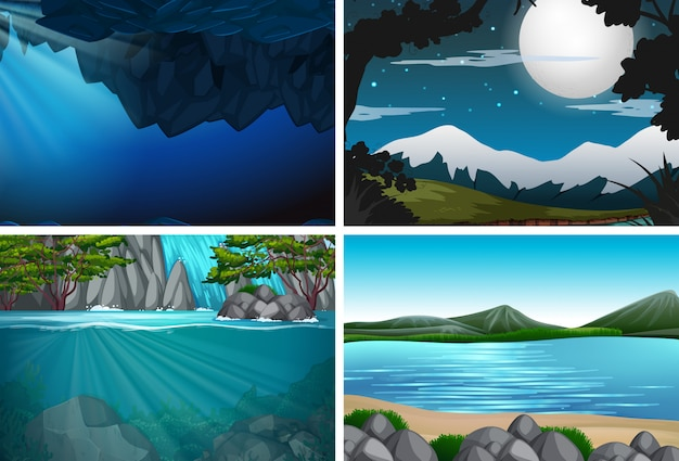 Ensemble de nature avec paysage d'eau Vecteur Premium