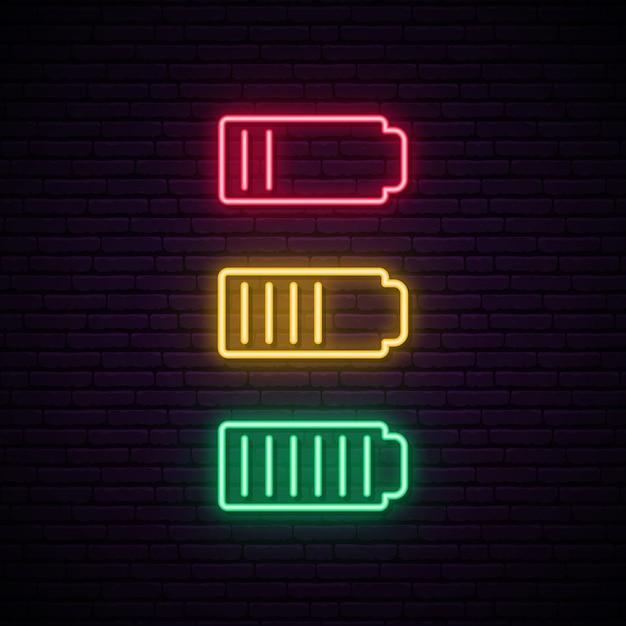 Ensemble de néon de batterie. Vecteur Premium
