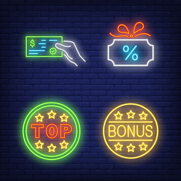 Ensemble de néon discount. carte-cadeau rougeoyante Vecteur gratuit