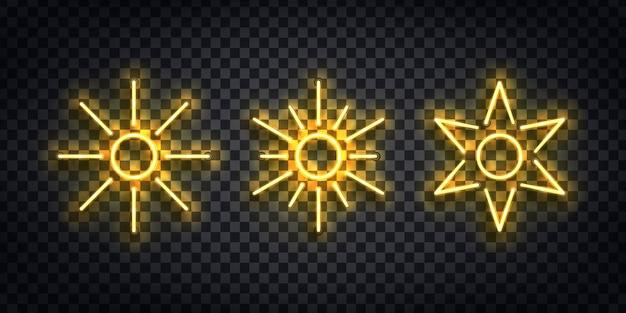 Ensemble De Néon Isolé Réaliste Du Logo Sun Pour La Décoration De Modèle Et Invitation Couvrant Sur Le Fond Transparent. Vecteur Premium