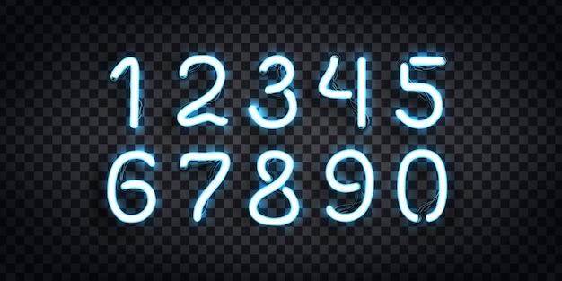 Ensemble De Néon Réaliste Du Logo De Nombres Pour La Décoration De Modèle Et La Mise En Page Couvrant Sur Le Fond Transparent. Vecteur Premium