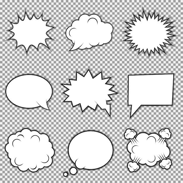 Ensemble de neuf éléments comiques différents. bulles de bulles, cadres d'émotions et d'actions. Vecteur Premium