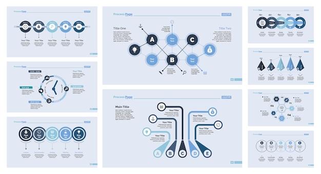 Ensemble de neuf modèles de diapositives de gestion Vecteur gratuit