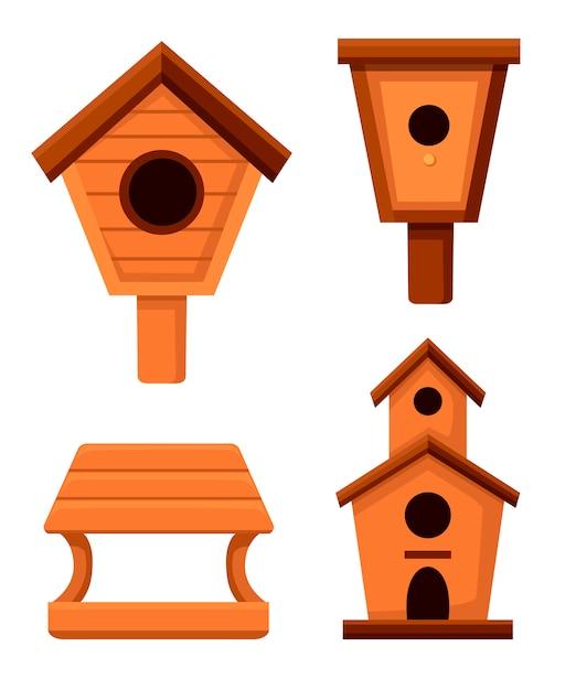 Ensemble De Nichoirs En Bois. Style De Nichoirs. Bâtiment Fait Maison Pour Oiseaux, Objet Artisanal. Illustration Sur Fond Blanc Vecteur Premium