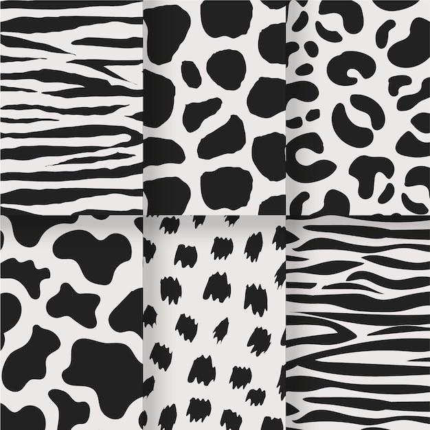 Ensemble Noir Et Blanc D'impressions Sans Soudure D'animaux Vecteur gratuit