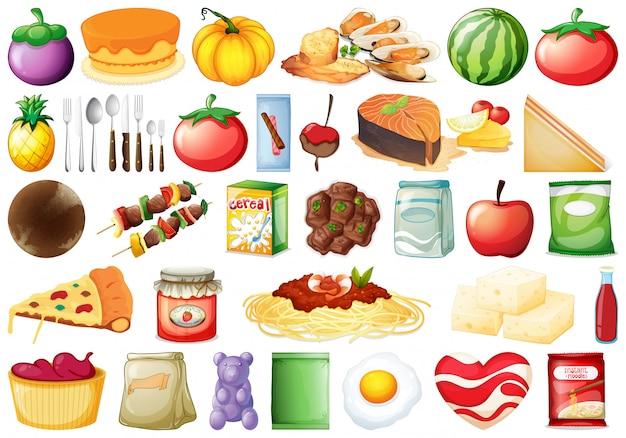 Ensemble de nombreux aliments Vecteur gratuit