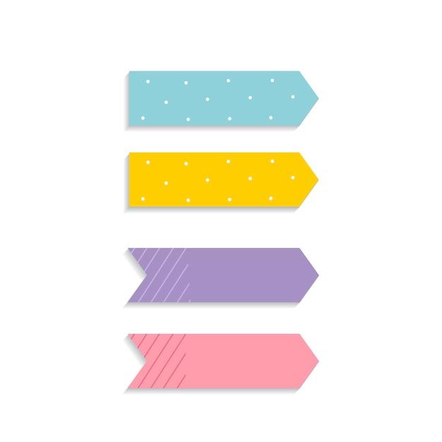 Ensemble de notes autocollantes colorées Vecteur gratuit