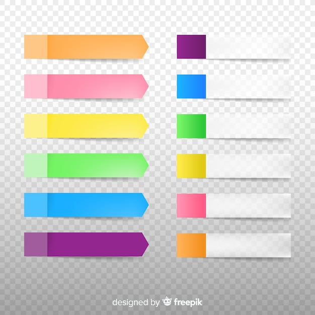 Ensemble de notes autocollantes dans un style réaliste et différentes couleurs Vecteur gratuit