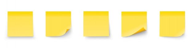 Ensemble De Notes De Bâton Realystic Isolé Sur Fond Blanc. Post It Notes Collection Avec Shadow Vecteur Premium
