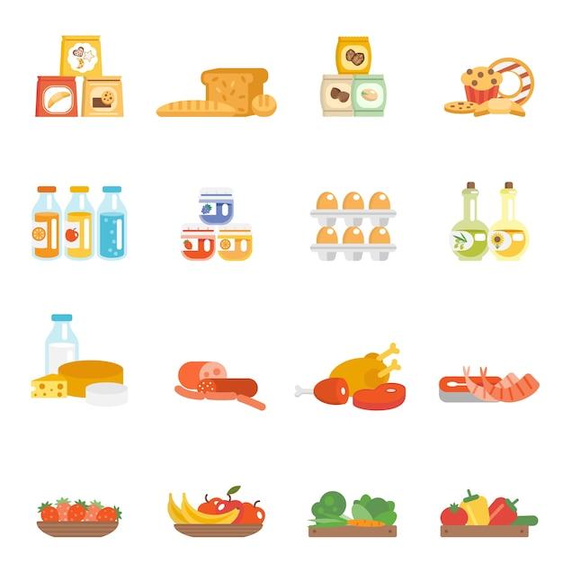 Ensemble De Nourriture De Supermarché Vecteur gratuit