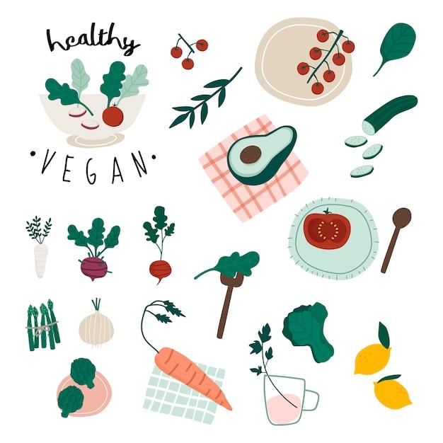Ensemble de nourriture végétalienne saine Vecteur gratuit