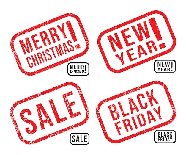 Ensemble De La Nouvelle Année, Noël, Black Friday Et Vente De Tampons En Caoutchouc Avec Des Textures Grunge Vecteur Premium