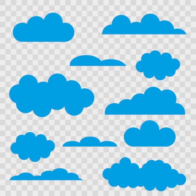 Ensemble de nuages bleus sur fond transparent. Vecteur Premium