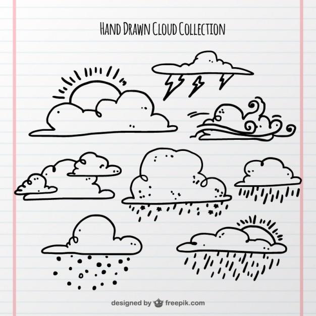 Ensemble de nuages et phénomène atmosphérique Vecteur gratuit