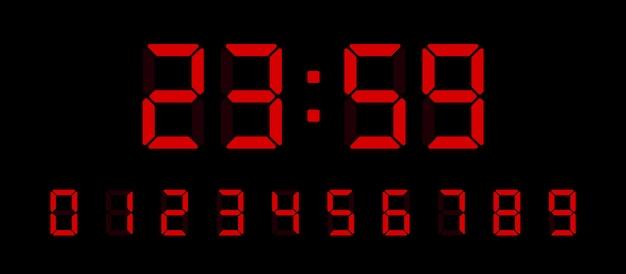 Ensemble De Numéros D'horloge Numérique. Figures électroniques Pour La Conception D'interfaces Différents Types D'appareils. Illustration. Vecteur Premium