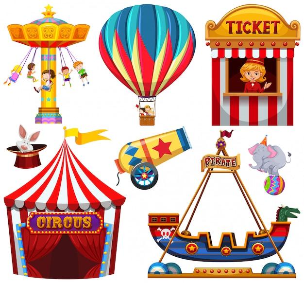 Ensemble d'objet de cirque Vecteur gratuit