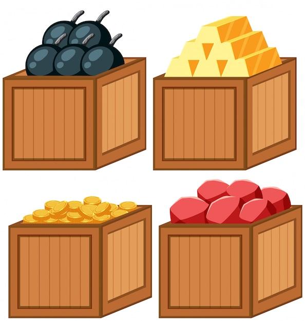 Ensemble d'objet dans la boîte en bois Vecteur gratuit