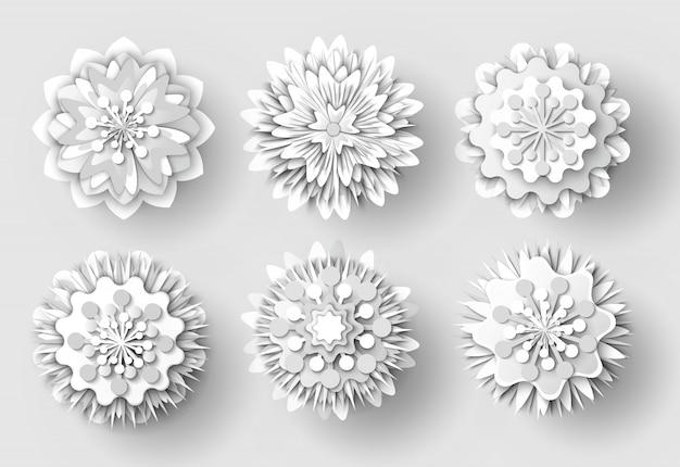 Ensemble d'objets découpés dans du papier blanc à fleurs origami Vecteur Premium