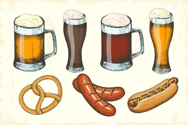 Ensemble d'objets dessinés à la main d'oktoberfest. saucisse, bretzel, hot dog, différentes sortes de bières. esquisse d'oktoberfest. illustration vectorielle pour menu, affiche, bannière Vecteur Premium