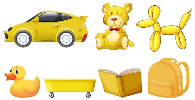 Ensemble d'objets jaunes Vecteur gratuit