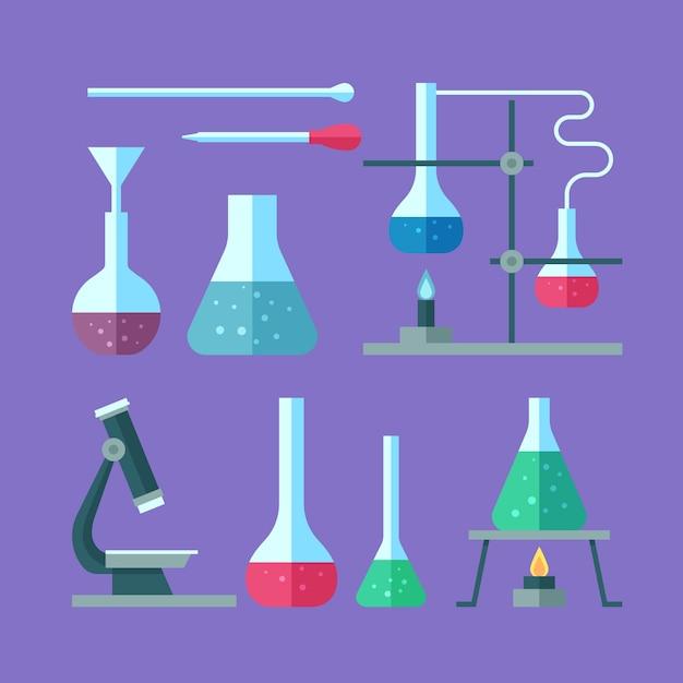 Ensemble D'objets De Laboratoire Scientifique Vecteur gratuit