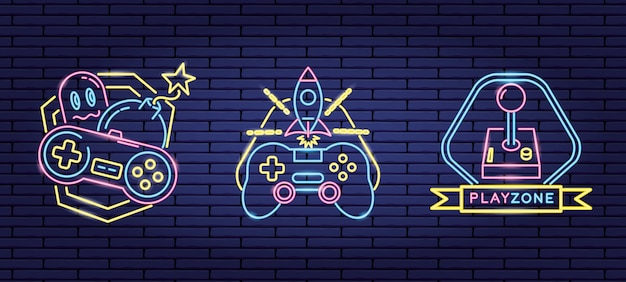 Ensemble D'objets Liés Aux Jeux Vidéo Dans Le Style Néon Et Linéaire Vecteur gratuit