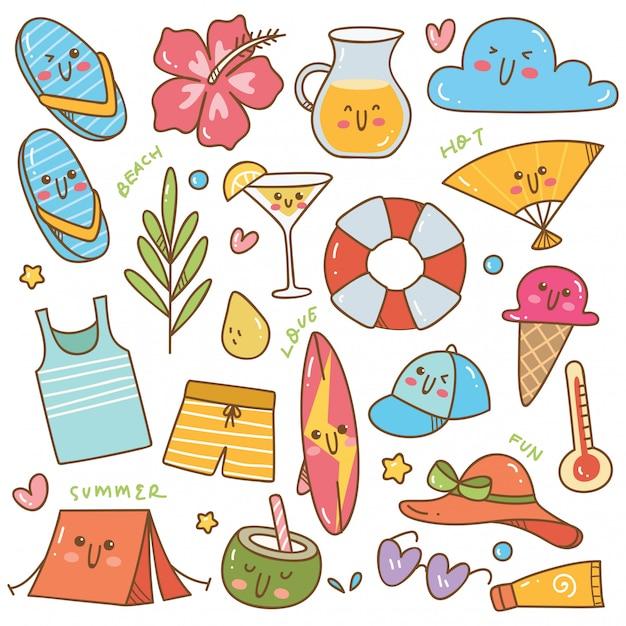 Ensemble d'objets liés de l'été dans un style kawaii doodle Vecteur Premium