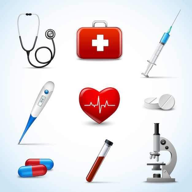 Ensemble d'objets médicaux réalistes Vecteur gratuit