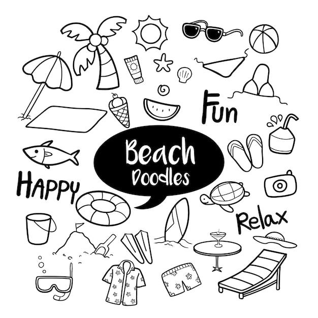 Ensemble d'objets de plage dans des gribouillis dessinés à la main Vecteur Premium