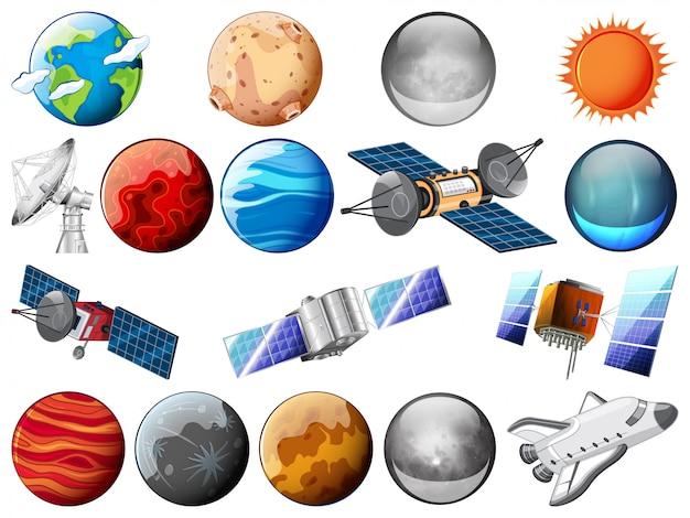Ensemble d'objets spatiaux Vecteur gratuit