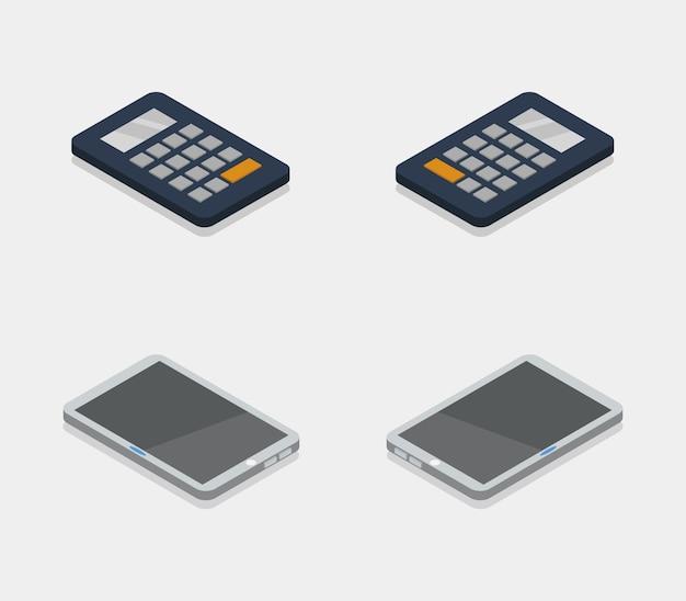 Ensemble d'objets technologiques isométriques Vecteur Premium