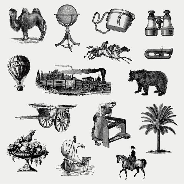 Ensemble D'objets Vintage Européen Vecteur gratuit
