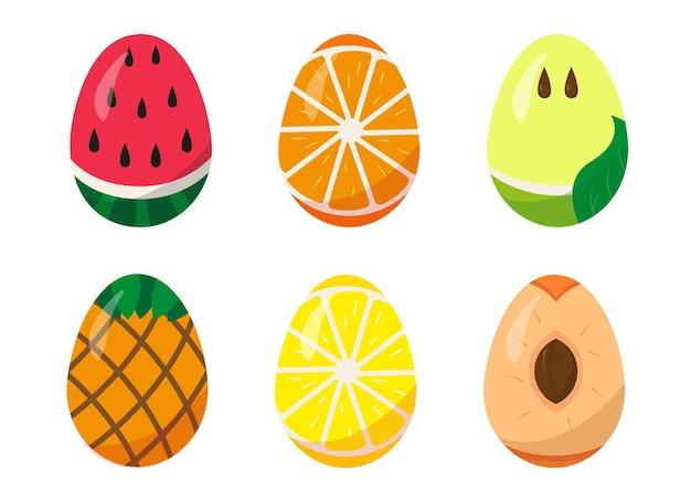 Ensemble D'oeufs De Pâques Peints Comme Des Fruits Sur Fond Blanc. Vecteur Premium