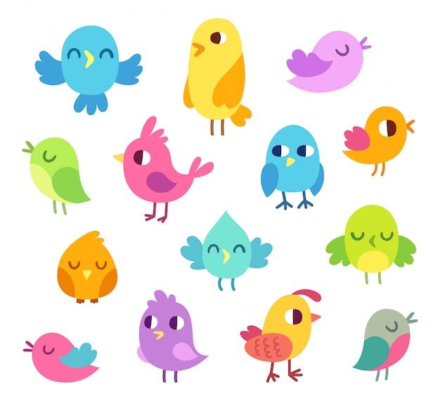 Ensemble D'oiseaux Mignons De Dessin Animé Vecteur Premium