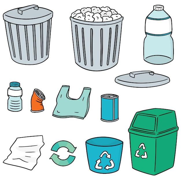 Ensemble d'ordures de recyclage Vecteur Premium