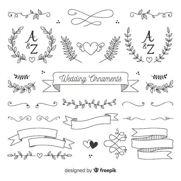 Ensemble d'ornement de mariage dessiné main minimaliste Vecteur gratuit